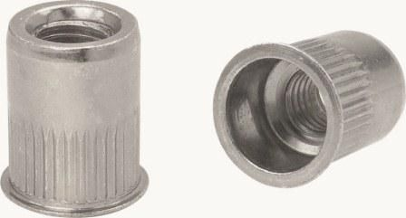 Apex Rivet Nut Steel Thin Head Ribbed Z Body 8-32UNCx6.7x11.5mm NSRT8-32Z-HP 100 Pack